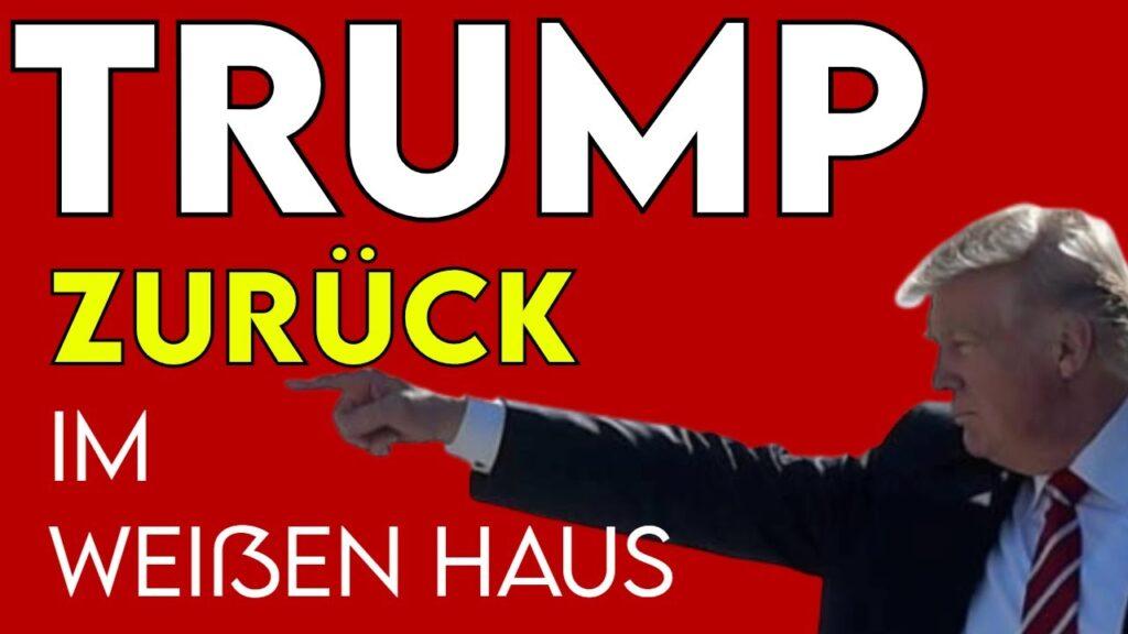 Titelbild zeigt den Text Trump zurück ins weiße Haus und ein Bild von Trump